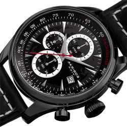 Akribos XXIV Men's Solid Chronograph and Dual Time Genuine Leather Strap Watch AK915BK - Thumbnail