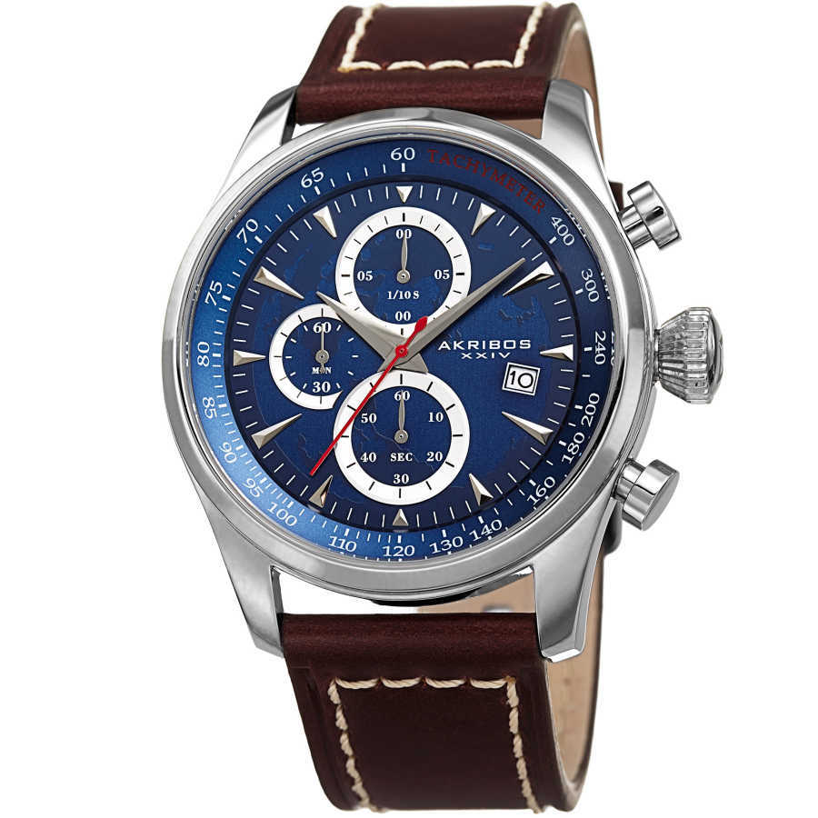 Akribos XXIV Men's Solid Chronograph and Dual Time Genuine Leather Strap Watch AK915BU