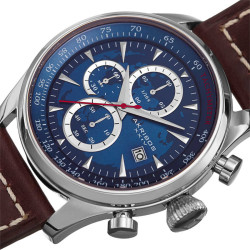 Akribos XXIV Men's Solid Chronograph and Dual Time Genuine Leather Strap Watch AK915BU - Thumbnail