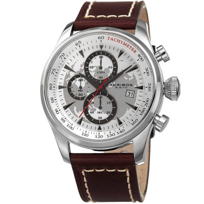 Akribos XXIV - Akribos XXIV Men's Solid Chronograph and Dual Time Genuine Leather Strap Watch AK915SS