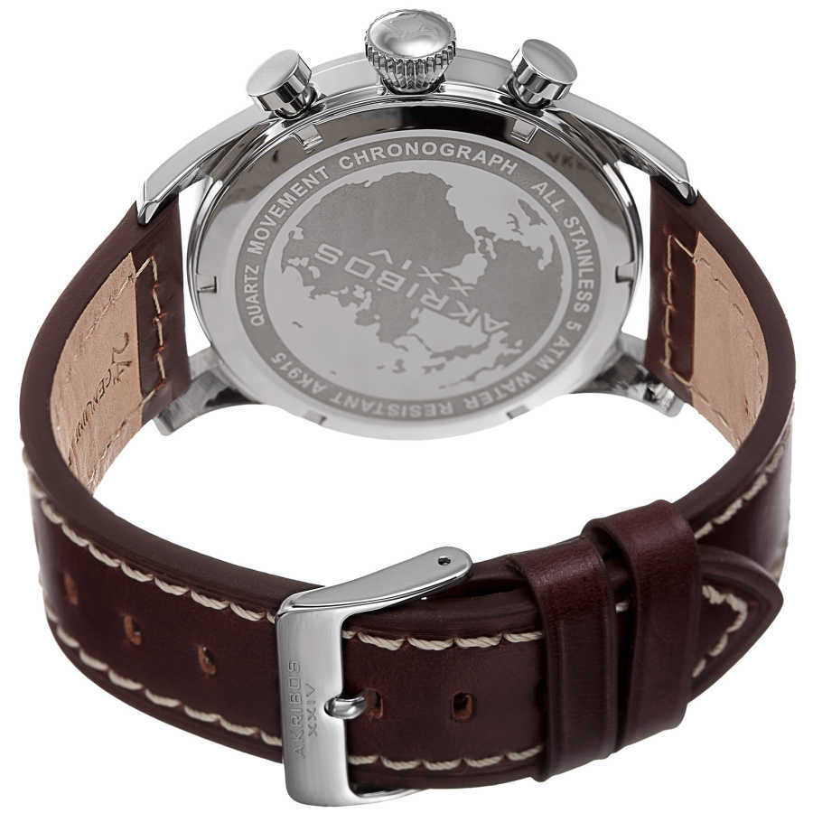 Akribos XXIV Men's Solid Chronograph and Dual Time Genuine Leather Strap Watch AK915SS