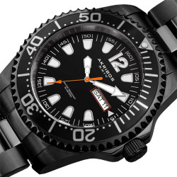 Akribos XXIV Men's Solid Stainless Steel Divers Day/Date Bracelet Watch AK947BK - Thumbnail