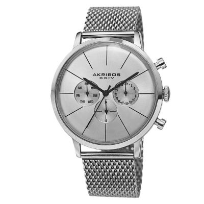 Akribos XXIV - Akribos XXIV Men's Sunray Dial Multifunction Stainless Steel Mesh Strap Watch AK714SS