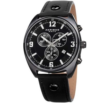 Akribos XXIV - Akribos XXIV Men's Swiss Quartz Chronograph Leather Strap Watch AK969BK