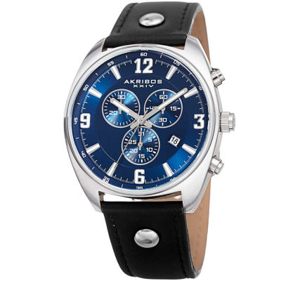 Akribos XXIV - Akribos XXIV Men's Swiss Quartz Chronograph Leather Strap Watch AK969BKBU