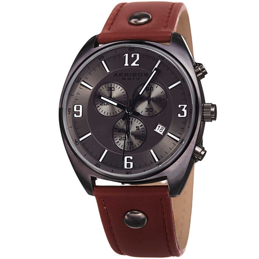 Akribos XXIV Men's Swiss Quartz Chronograph Leather Strap Watch AK969GN