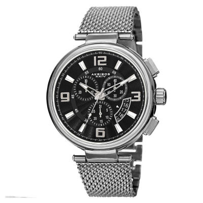 Akribos XXIV - Akribos XXIV Men's Swiss Quartz Chronograph Stainless Steel Mesh Bracelet Watch AK772SSB