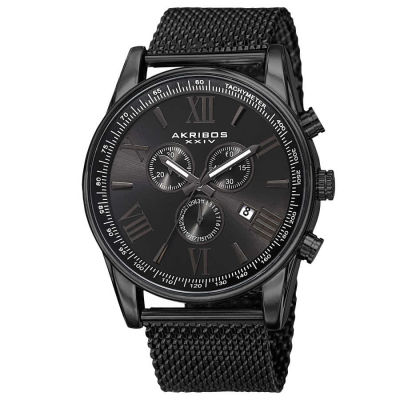 Akribos XXIV - Akribos XXIV Men's Swiss Quartz Chronograph Stainless Steel Mesh Strap Watch AK813BK