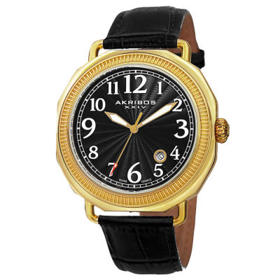 Akribos XXIV - Akribos XXIV Men's Swiss Quartz Date Arabic Numeral Markers Leather Strap Watch AK770YG