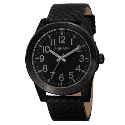 Akribos XXIV - Akribos XXIV Men's Swiss Quartz Easy-To-Read Markers Canvas Strap Watch AK779BK