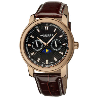 Akribos XXIV - Akribos XXIV Men's Swiss Quartz Moon Phase Multifunction Strap Watch AK573RG