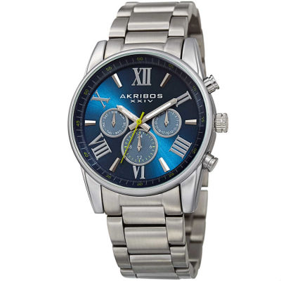 Akribos XXIV - Akribos XXIV Men's Swiss Quartz Multifunction Dual Time Blue Bracelet Watch AK912SSBU