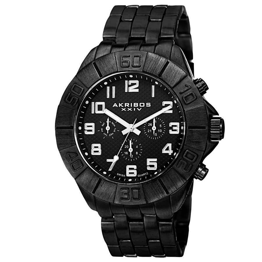 Akribos XXIV Men's Swiss Quartz Multifunction Dual-Time Bracelet Watch AK767BK