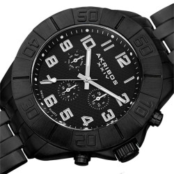Akribos XXIV Men's Swiss Quartz Multifunction Dual-Time Bracelet Watch AK767BK - Thumbnail