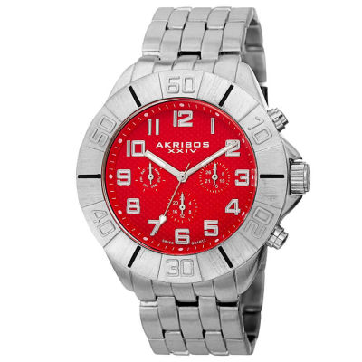 Akribos XXIV - Akribos XXIV Men's Swiss Quartz Multifunction Dual-Time Bracelet Watch AK767RD