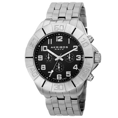 Akribos XXIV - Akribos XXIV Men's Swiss Quartz Multifunction Dual-Time Bracelet Watch AK767SSB