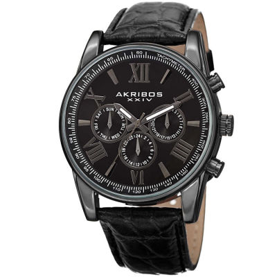 Akribos XXIV - Akribos XXIV Men's Swiss Quartz Multifunction Dual Time Leather Strap Watch AK864BK