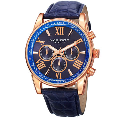 Akribos XXIV - Akribos XXIV Men's Swiss Quartz Multifunction Dual Time Leather Strap Watch