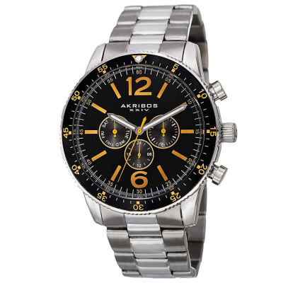 Akribos XXIV - Akribos XXIV Men's Swiss Quartz Multifunction Dual-Time Stainless Steel Bracelet Watch AK768SSB