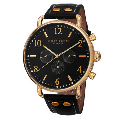 Akribos XXIV - Akribos XXIV Men's Swiss Quartz Multifunction Genuine Leather Strap Watch AK752YGB