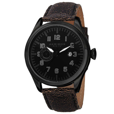 Akribos XXIV - Akribos XXIV Men's Swiss Quartz Multifunction Genuine Leather Strap Watch AK785BK