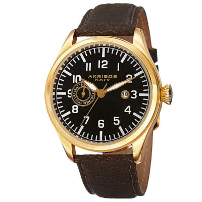 Akribos XXIV - Akribos XXIV Men's Swiss Quartz Multifunction Genuine Leather Strap Watch AK785YG