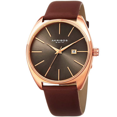 Akribos XXIV - Akribos XXIV Men's Tonneau Sunray Dial Date Genuine Leather Strap Watch AK945RGBR
