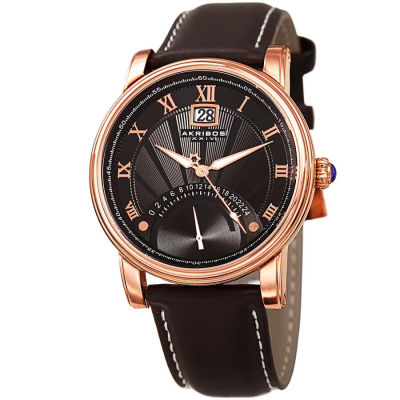 Akribos XXIV - Akribos XXIV Men's Traditional Genuine Leather Strap Watch AK913RG