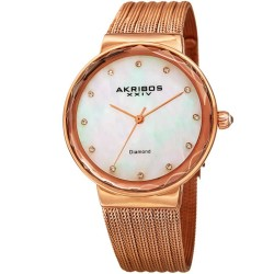 Akribos XXIV Women Stainless Steel Mesh Bracelet Watches AK1009RG AK1009RG - Thumbnail