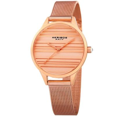 Akribos XXIV - Akribos XXIV Women Stainless Steel Mesh or Leather Strap Watches AK1005RG AK1005RG