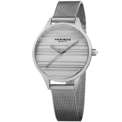 Akribos XXIV - Akribos XXIV Women Stainless Steel Mesh or Leather Strap Watches AK1005SS