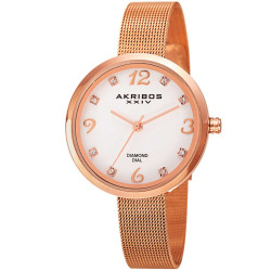 Akribos XXIV Women's AK875RG Round White Mother of Pearl Dial Three Hand Quartz Bracelet Watch AK875RG - Thumbnail
