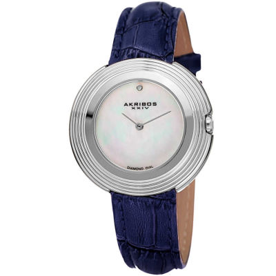 Akribos XXIV - Akribos XXIV Women's AK876SS Mother-of-Pearl Dial Silver Tone Blue Leather Strap Watch AK876SS