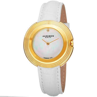 Akribos XXIV - Akribos XXIV Women's AK876WTG Mother-of-Pearl Dial Gold Tone White Leather Strap Watch AK876WTG
