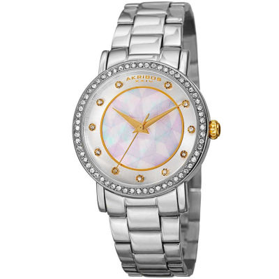 Akribos XXIV - Akribos XXIV Women's AK880SS Round Silver and White Dial Three Hand Quartz Bracelet Watch AK880SS