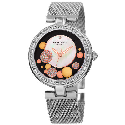 Akribos XXIV - Akribos XXIV Women's AK881SSB Round White Mother of Pearl, Black, Silver, and Gold Dial Three Hand Quartz Bracelet Watch AK881SSB