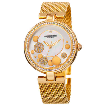 Akribos XXIV - Akribos XXIV Women's AK881YG Round White Mother of Pear, Silver and Yellow Gold Dial Three Hand Quartz Bracelet Watch AK881YG