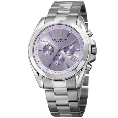 Akribos XXIV - Akribos XXIV Women's Boyfriend Multifunction Solid Stainless Steel Bracelet Watch AK951SSPU