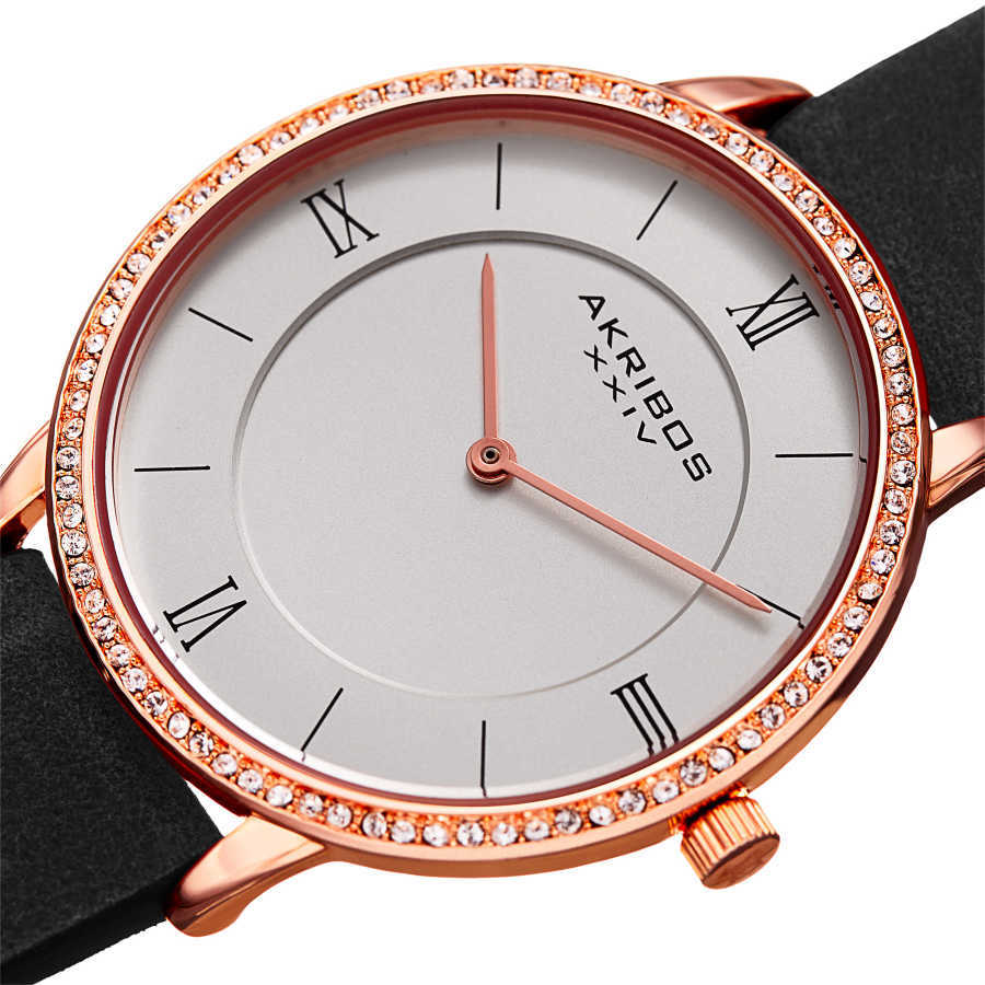 Akribos XXIV Women's Crystal Genuine Leather Strap Watch AK924BK