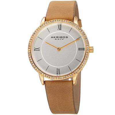 Akribos XXIV - Akribos XXIV Women's Crystal Genuine Leather Strap Watch AK924BR