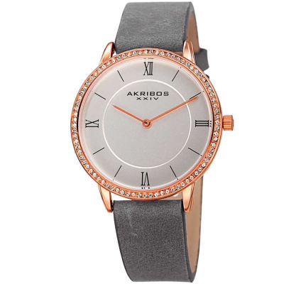 Akribos XXIV - Akribos XXIV Women's Crystal Genuine Leather Strap Watch AK924GY