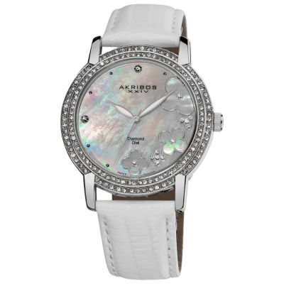 Akribos XXIV - Akribos XXIV Women's Flower Diamond Accent Watch with White Strap AK580SSW