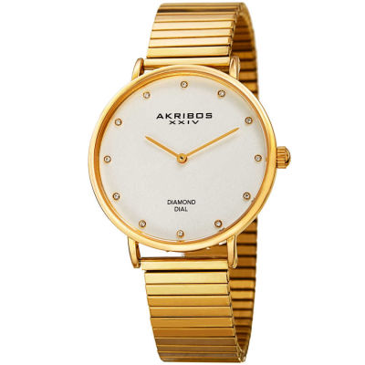 Akribos XXIV - Akribos XXIV Women's Genuine Diamond Classic Expansion Bracelet Watch AK927YG