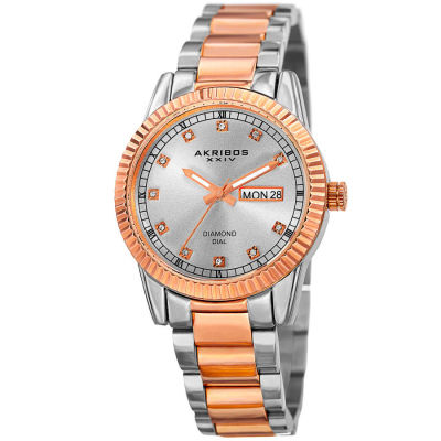 Akribos XXIV - Akribos XXIV Women's Genuine Diamond Day /Date Stainless Steel Bracelet Watch AK965TTR