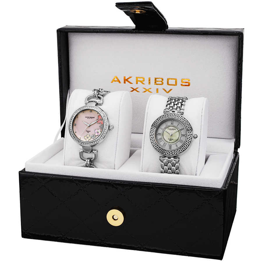 Akribos XXIV Women's Genuine Diamond Quartz Bracelet Watch AK886SS