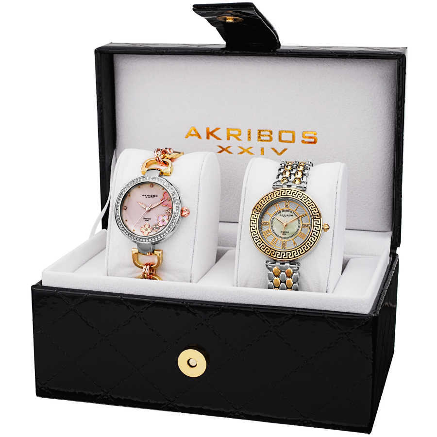 Akribos XXIV Women's Genuine Diamond Quartz Bracelet Watch AK886TT