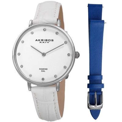 Akribos XXIV - Akribos XXIV Women's Genuine Diamond Slender Interchangeable Croco Strap Watch AK933SS-BX