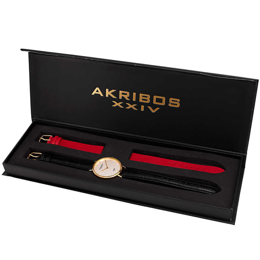 Akribos XXIV Women's Genuine Diamond Slender Interchangeable Croco Strap Watch AK933YG-BX