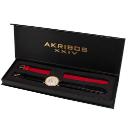 Akribos XXIV Women's Genuine Diamond Slender Interchangeable Croco Strap Watch AK933YG-BX - Thumbnail
