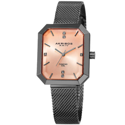 Akribos XXIV - Akribos XXIV Women's Genuine Diamond Sunburst effect Dial Stainless Steel Mesh Bracelet Watch AK909GN